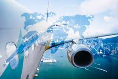 Samolotowy transport dookoła świata, globalnej sieci technologia Obrazy Royalty Free