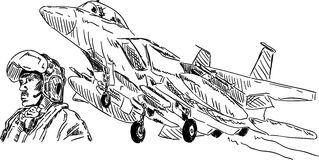 samolotowy wojskowy pilotuje Obrazy Royalty Free