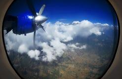samolotu Barcelona iluminatora Spain widok okno Obrazy Stock