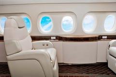Samolotu (dżetowy) klasy business wnętrze Zdjęcia Stock