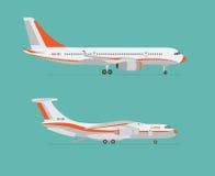 Samolotu i ładunku samolot na błękitnym tle Zdjęcia Royalty Free