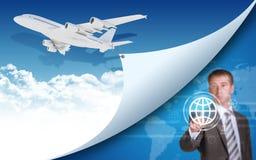 Samolotu i biznesmena palca prasy wirtualne Zdjęcia Stock