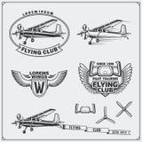 Samolotu klubu etykietki, emblematy, odznaki i projektów elementy, ilustracyjny lelui czerwieni stylu rocznik Obrazy Stock