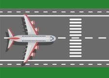 Samolotu płaski samolot na pasie startowym Odgórny widok Fotografia Stock