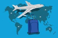 Samolotu pojęcia podróż dookoła świata, ręki trzyma światową mapę, wektorowa ilustracja royalty ilustracja