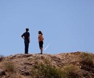 samolotu pustynny wycieczkowiczy punkt ślad Obraz Royalty Free