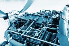 Samolotu silnika szczegół Kawałek wyposażenie samolotu silnika zbliżenie, błękit barwił Zdjęcia Stock