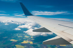 Samolotu skrzydło z okno Fotografia Royalty Free