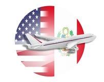 Samolotu, Stany Zjednoczone i Peru flaga, Obrazy Royalty Free