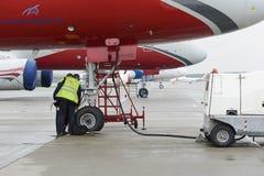 Samolotu Tupolev-204 rewolucjonistka Uskrzydla linii lotniczej w parking Fotografia Royalty Free