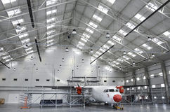 Samolotu utrzymania hangar Obrazy Stock