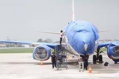 Samolotu utrzymanie unikać wpływ powulkaniczny popiół Zdjęcie Stock