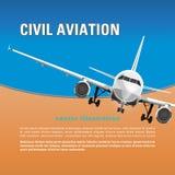 Samolotu wektoru tło Sztandar, plakat, ulotka, karta z latającą samolotową twarzą przeciw niebieskiemu niebu i tekst, royalty ilustracja