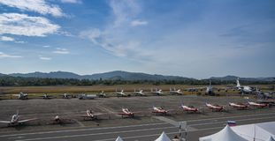 Samoloty szturmowi na pokazie przy LIMA expo fotografia stock