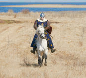 Knight in an armor astride a horse Stock Photography