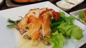 Samon Thai salad. Yatai sushi bar Royalty Free Stock Image