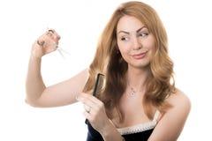 Samoobsługowy hairstyling Zdjęcia Royalty Free