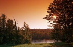Samoreau lake in Fontainebleau forest Stock Photo