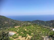 Samos avec la vue vers la Turquie photographie stock