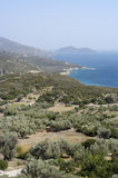 Samos island. Landscape of samos island, greece. Southcoast, view to the small island of Samiopoula Stock Photography