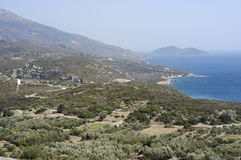 Samos island. Landscape of samos island, greece. Southcoast, view to the small island of Samiopoula Royalty Free Stock Photo