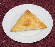 Samosa. On a white plate Royalty Free Stock Photography