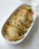 Square Shaped Samosas. Beautiful photograph of a traditional crispy Indian vegetarian appetizer, decorated with contrast garnish stock photo