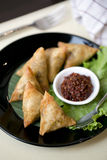 Samosa with chilli sauce Royalty Free Stock Photography