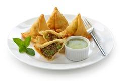 Samosa con la salsa picante de la menta, alimento indio Imagenes de archivo