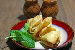Samosa. Crispy and potato filled homemade Samosa snacks in a plate with copy space, selective focus Stock Photography