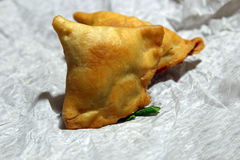 Samosa. Crispy and potato filled homemade Samosa snacks in a plate with copy space, selective focus Stock Images