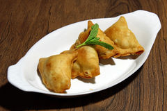 Samosa. Crispy and potato filled homemade Samosa snacks in a plate,selective focus Stock Photography