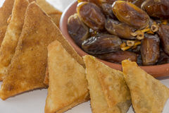 Samosa and date Stock Photo