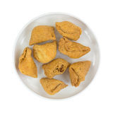 Samosa In Dish Top View Royalty Free Stock Image