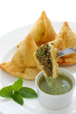 samosa för mint för chutneymat indisk Arkivfoto