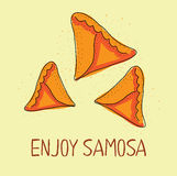Samosa icon. Eastern cuisine. Hand drawn illustration. Stock Photography