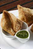 Samosa- An Indian fried, baked pastry. Royalty Free Stock Images