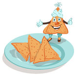 Samosa - Indian national patties. Vector illustration of a delicious, fun, mischievous samosa Royalty Free Stock Photography