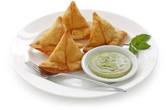 Samosa with mint chutney Royalty Free Stock Photo