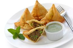 Samosa with mint chutney Stock Photography