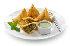 Samosa with mint chutney , indian food Stock Images