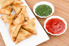 Samosa / Samoosa with mint & tomato chutney Royalty Free Stock Image