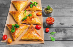 Samosa pies with meat Stock Photos
