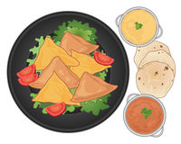 Samosa plate. An illustration of a dark plate with samosa snacks lettuce and tomato and some spicy dips with chapatti bread on a white background royalty free illustration