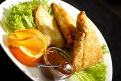 Samosa with plum sauce Royalty Free Stock Image