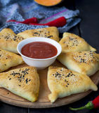 Samosa with pumpkin - traditional oriental pastries Stock Image