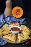 Samosa with pumpkin - traditional oriental pastries Royalty Free Stock Photography