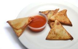 Samosa snack and chili Stock Photography