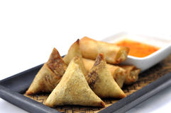 Samosa and Spring roll Stock Images