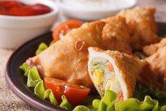 Samosa stuffed with vegetables macro. Horizontal Stock Photo